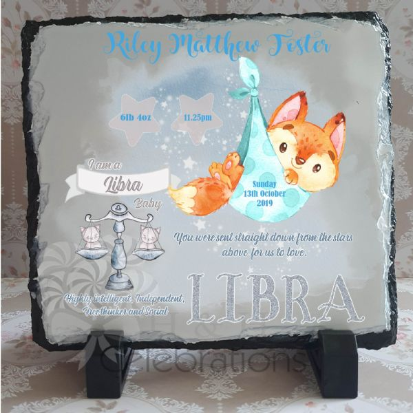 Libra - Baby Star Sign Keepsake Rock Slate